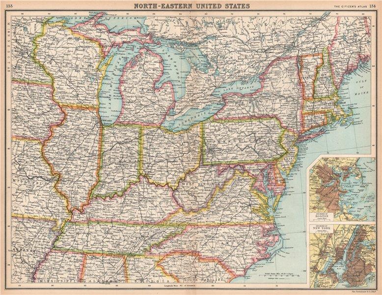 Associate Product USA NORTH-EAST. United States. Inset Boston & New York. BARTHOLOMEW 1912 map