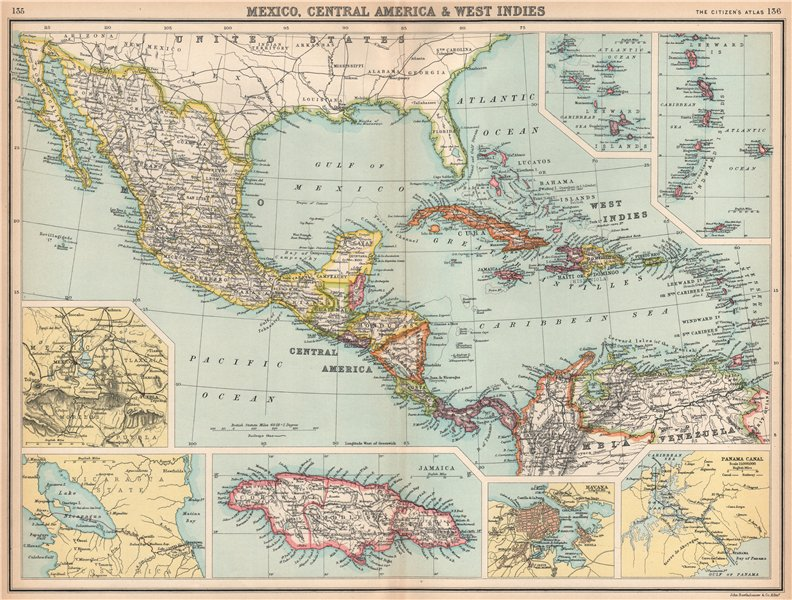 Associate Product MEXICO CENTRAL AMERICA WEST INDIES. Panama & Proposed Nicaragua canals 1912 map