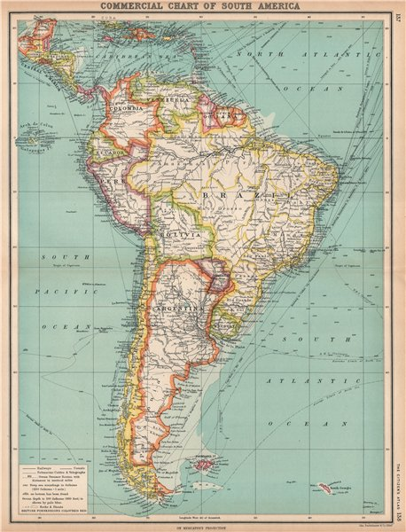 Associate Product SOUTH AMERICA COMMERCIAL.Steamer routes Telegraph cables Railways 1912 old map
