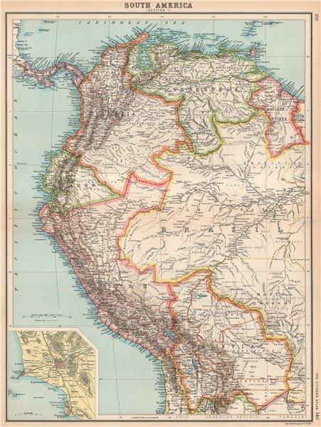 Associate Product SOUTH AMERICA NW. Venezuela Colombia Ecuador Peru Bolivia. Inset Lima 1912 map