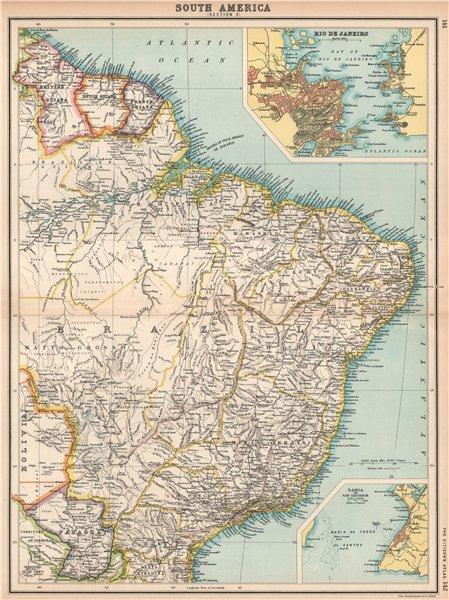 Associate Product BRAZIL & THE GUIANAS. Inset Rio de Janeiro & Salvador de Bahia plans 1912 map