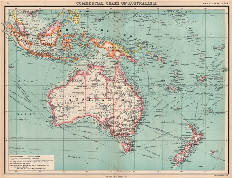 Associate Product AUSTRALASIA COMMERCIAL. Steamer routes Telegraph cables Railways 1912 old map
