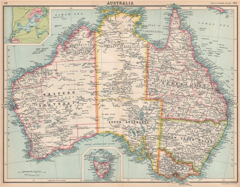 Show A Map Of Australia.Details About Australia Shows States Goldfields Telegraph Cables Perth Fremantle 1912 Map