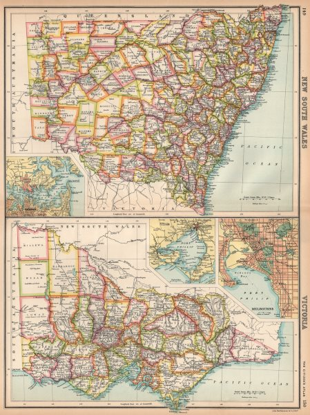 Associate Product NEW SOUTH WALES & VICTORIA. Counties. Melbourne & Sydney. Australia 1912 map