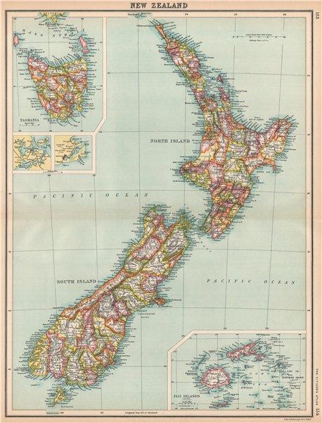 Associate Product NEW ZEALAND.Showing counties.Inset Tasmania & Fiji Islands.BARTHOLOMEW 1912 map