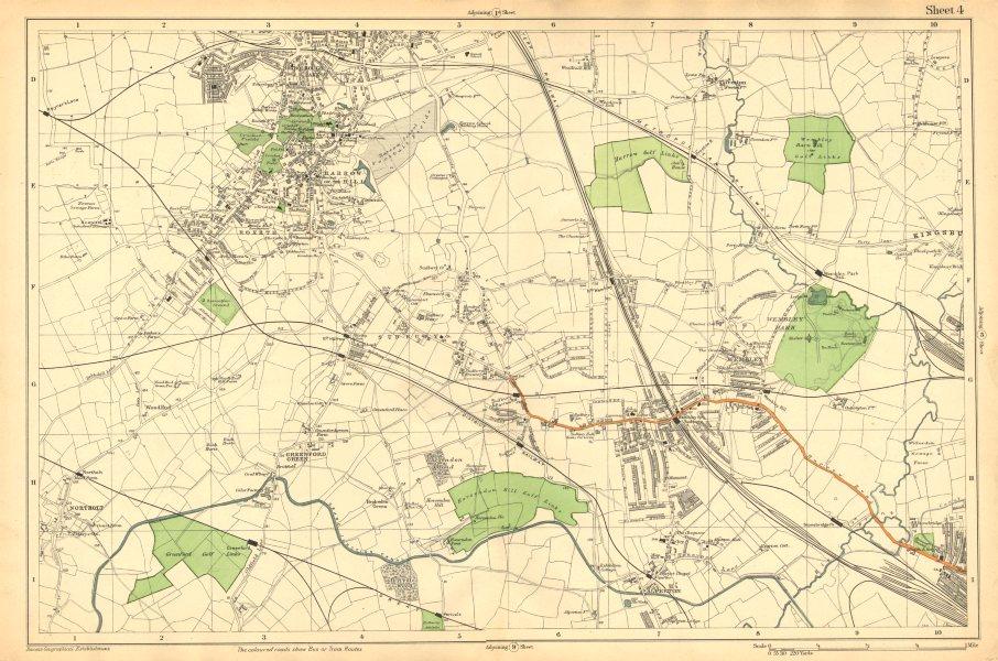 Associate Product HARROW WEMBLEY. Sudbury,Greenford,Northolt,Kenton,Alperton (Bacon) c1911 map