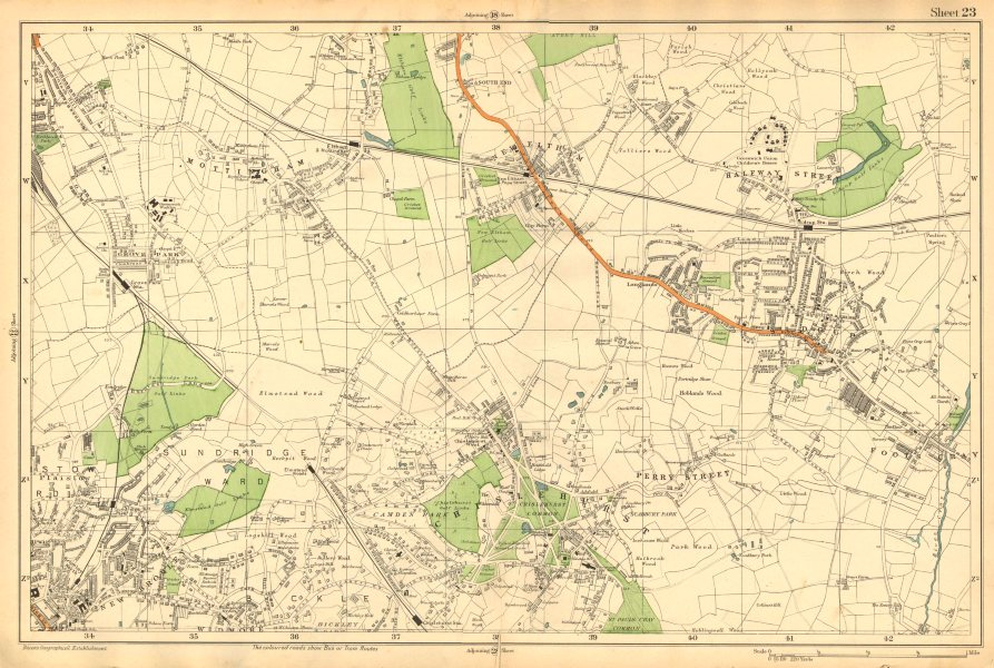 Associate Product CHISLEHURST. New Eltham,Mottingham,Bromley,Sidcup,Foots Cray,Catford c1911 map