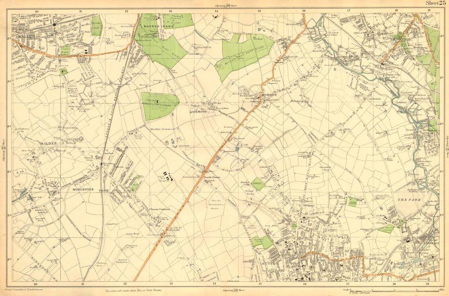 Associate Product SUTTON.Carshalton,Morden,New Malden,Worcester Pk,Mitcham,Cheam-Bacon c1911 map