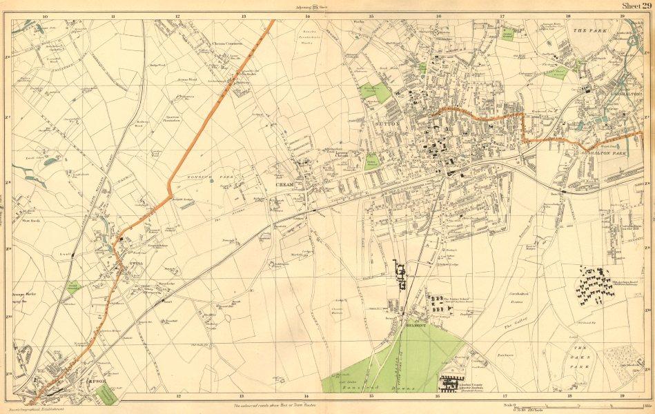 Associate Product SUTTON. Cheam,Epsom,Belmont,Carshalton,Ewell,Banstead Dns (Bacon) c1911 map