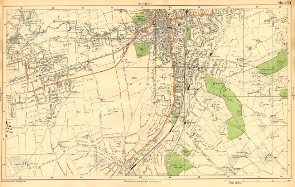 Associate Product S CROYDON. Carshalton,Wallington,Waddon,Beddington,Purley (Bacon) c1911 map