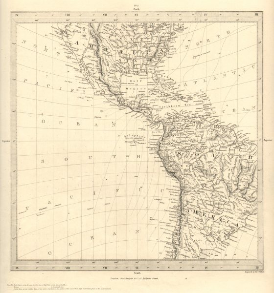 Associate Product AMERICAS. Gnomonic Projection. Shows Texas as part of Mexico. SDUK 1848 map