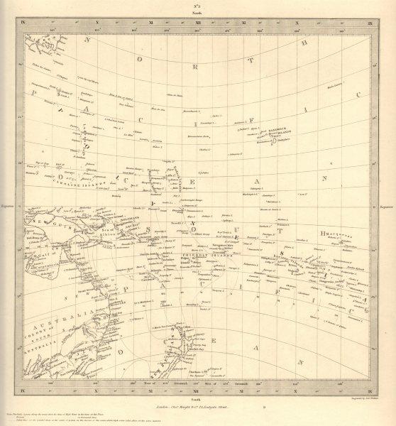 Associate Product AUSTRALASIA POLYNESIA PACIFIC OCEAN. On Gnomonic Projection. SDUK 1848 old map