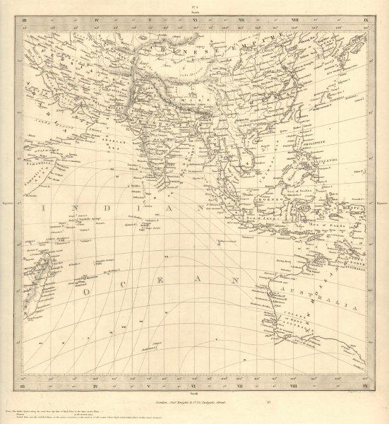 ASIA AUSTRALIA. On Gnomonic Projection. China India Persia. SDUK 1848 old map