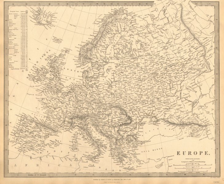 Associate Product EUROPE. General map. Inset table of population & density by country . SDUK 1848