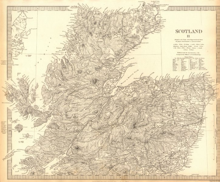Associate Product SCOTLAND NORTH. Shows castles & kirks. Inset former county names.SDUK 1848 map