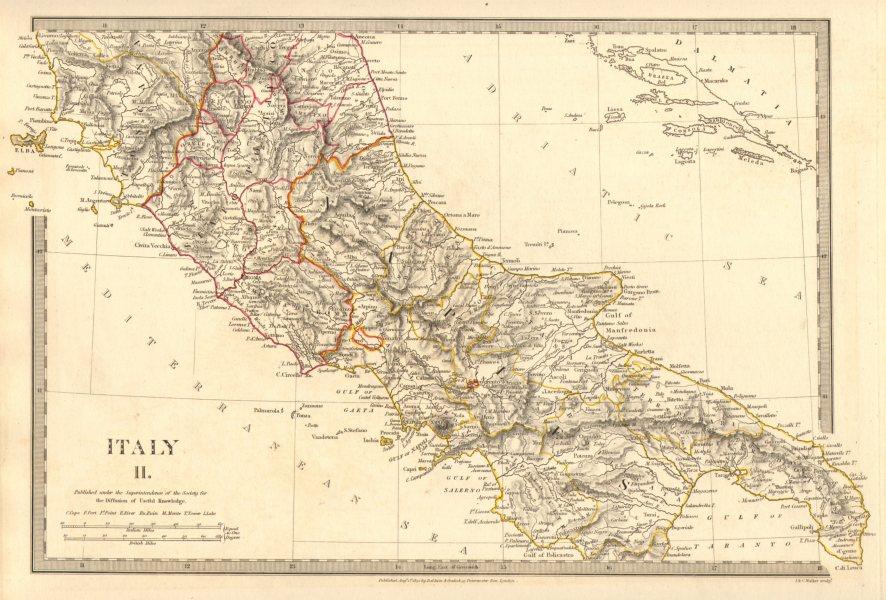 Associate Product ITALY SOUTH.Naples Stato Pontifico Toscana.Original  hand colour.SDUK 1848 map