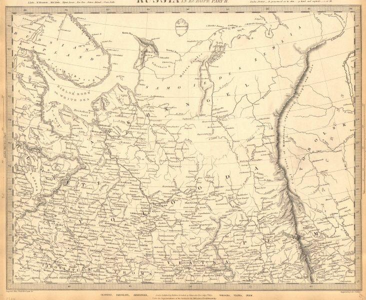 Associate Product RUSSIA.Arkhangelsk Vologda VIatka Perm Olontez Iaroslavl.SDUK 1848 old map