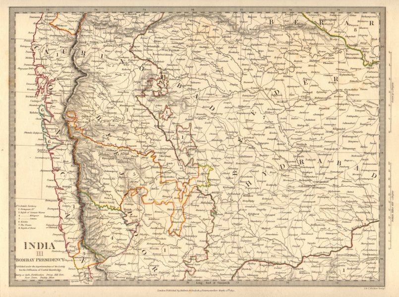 Associate Product BOMBAY (MUMBAI) PRESIDENCY AND HYDERABAD. Aurangabad; Bijapur. SDUK 1848 map
