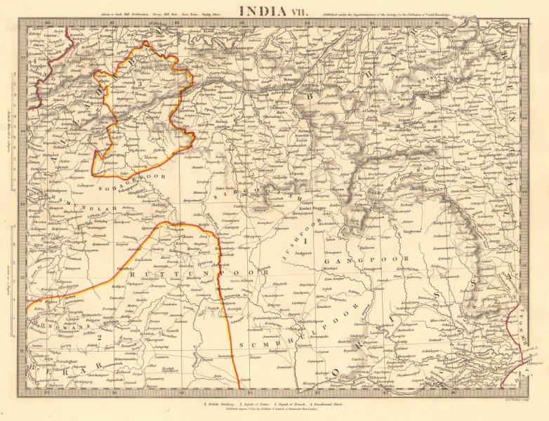 Associate Product INDIA.Allahabad to Bay of Bengal.Bahar. Berar Orissa Ruttunpoor.SDUK 1848 map