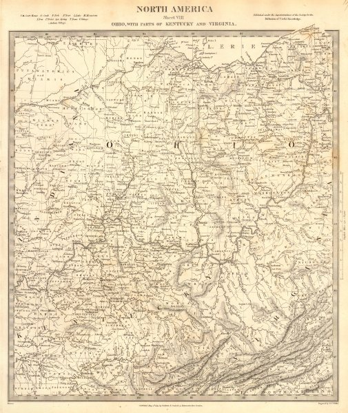 Associate Product USA. Ohio with parts of Kentucky, Virginia & Indiana. Counties. SDUK 1848 map