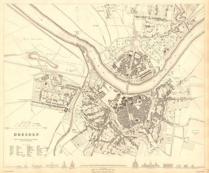 Associate Product DRESDEN. Antique town city map plan. SDUK 1848 old chart