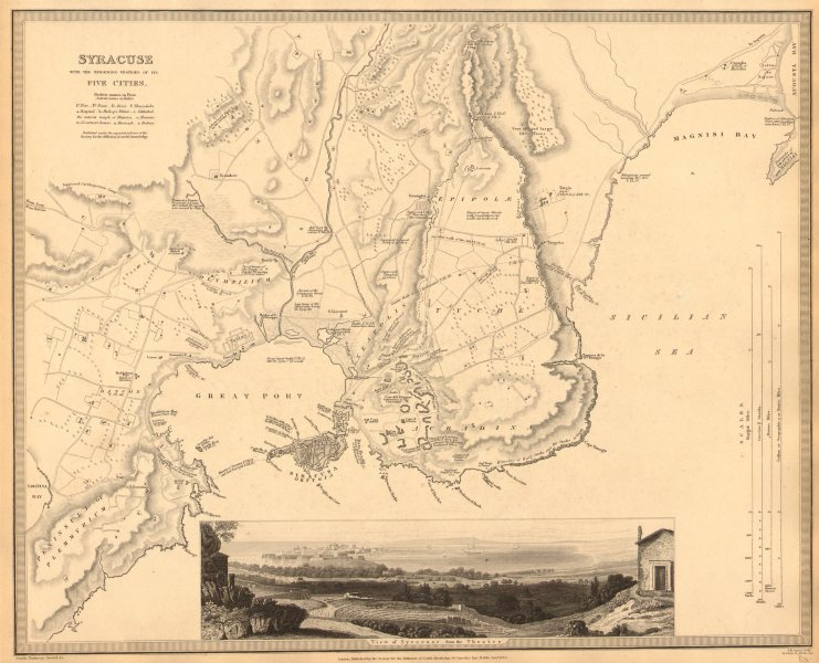 Associate Product SYRACUSE SIRACUSA. Antique town city map plan.Remains of its 5 cities.SDUK 1848