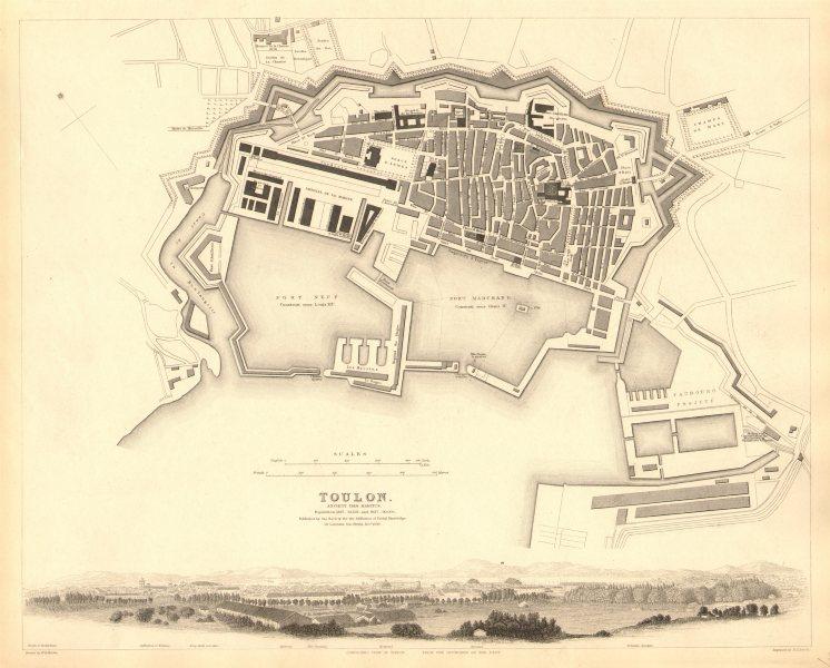 Associate Product TOULON. Antique town city map plan.Ancient Telo Martius.Panorama view.SDUK 1848