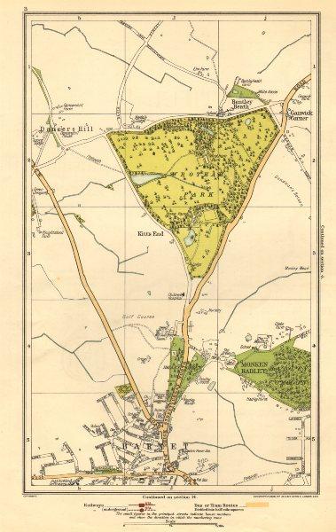 Associate Product BARNET.Monken Hadley,Wrotham Park,Kitts End,Dancer's Hill,Ganwick Cnr 1923 map