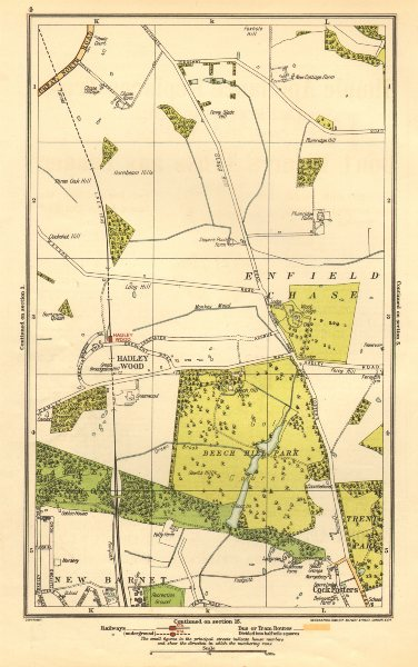 ENFIELD CHASE. Cockfosters, Hadley Wood, New Barnet, Beech Hill Park 1923 map