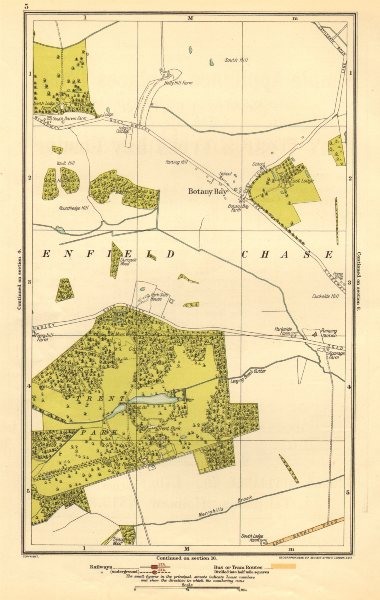 Associate Product ENFIELD CHASE. Botany Bay, Trent Park, Southgate, East Barnet 1923 old map