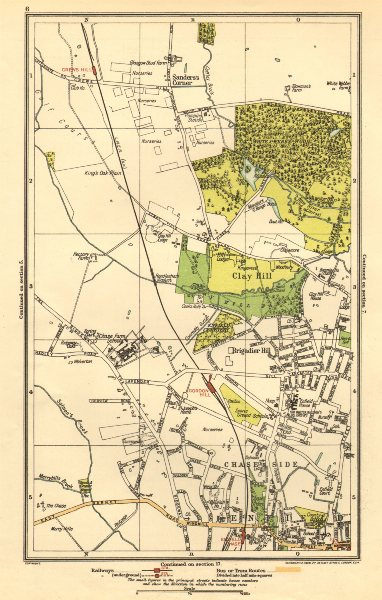 Associate Product ENFIELD. Clay Hill, Chase Side,Gordon Hill,Crews Hill, Brigadier Hill 1923 map