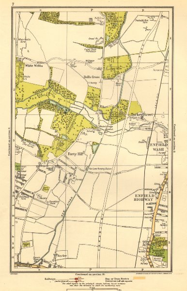 Associate Product ENFIELD.Bull's Cross,Enfield Wash,Forty Hill,White Webbs,Freezy Water 1923 map