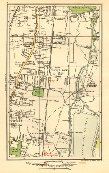 Associate Product ENFIELD. Lock, Wash, Highway; Waltham Cross, Brimsdown, Freezy Water 1923 map