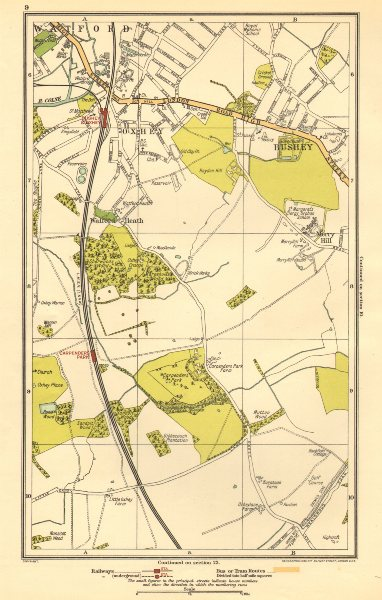 Associate Product OXHEY. Bushey, Watford, Carpender's Park, Merry Hill 1923 old vintage map