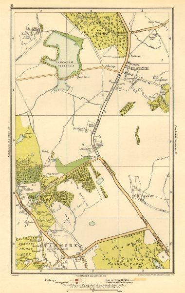 Associate Product HERTS. Elstree, Stanmore, Edgware, Aldenham Park, Canons Park 1923 old map