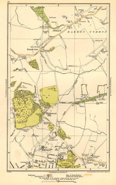 Associate Product LONDON. Arkley, Barnet Gate, Highwood Hill, Mill Hill 1923 old vintage map