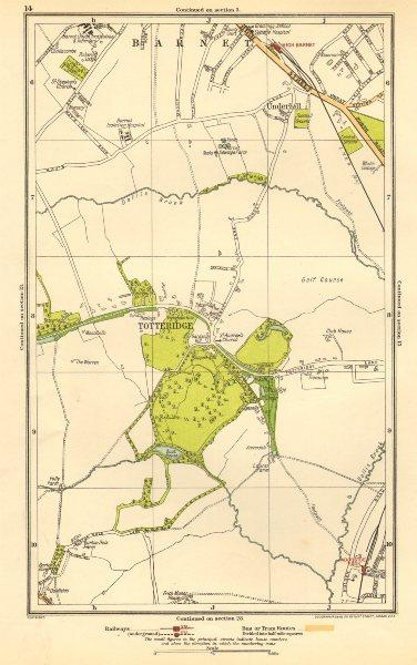 Associate Product HIGH BARNET/CHIPPING BARNET. Totteridge, Woodside Park, Underhill 1923 old map