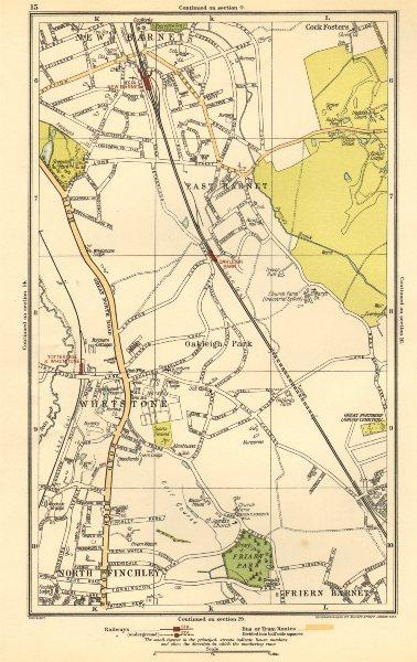 Associate Product EAST BARNET. Friern Barnet;Whetstone, Finchley,Cockfosters,Totteridge 1923 map