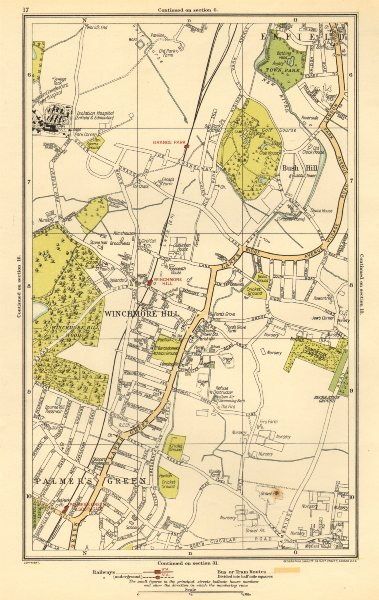 Associate Product SOUTHGATE. Winchmore Hill, Grange Park, Palmers Green, Bush Hill 1923 old map
