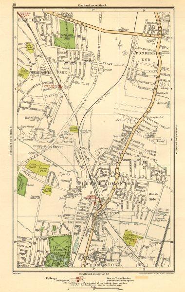 Associate Product EDMONTON. Bush Hill Park, Ponders End, Enfield Town, Bury Street 1923 old map