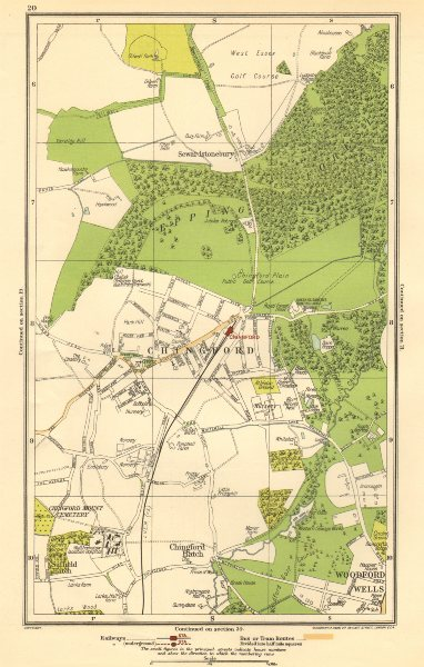 Associate Product CHINGFORD.Woodford Wells,Epping Forest,Sewardstonebury,Suffield Hatch 1923 map