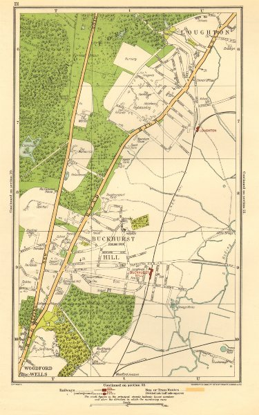 Associate Product ESSEX. Buckhurst Hill, Loughton, Woodford Wells, Roding Valley 1923 old map