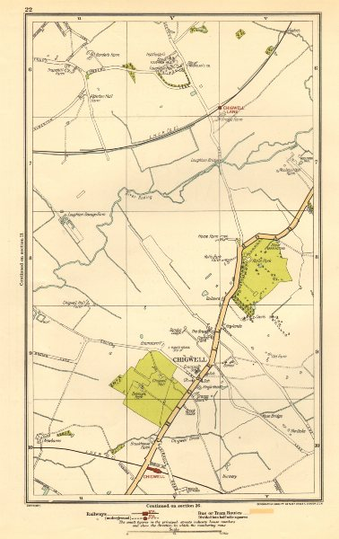 Associate Product ESSEX. Chigwell, Loughton, Debden, Patch Park, River Roding 1923 old map