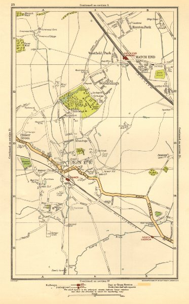 Associate Product PINNER. Hatch End, North Harrow,Eastcote, Royston Park,Westfield Park 1923 map