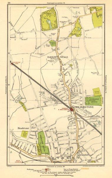Associate Product HARROW. Stanmore, Wealdstone, Greenhill, Weald, Headstone Lane 1923 old map