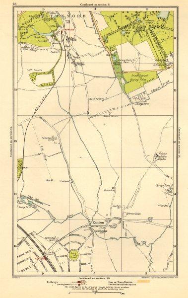 Associate Product KENTON. Belmont, Stanmore, Canons Park, Edgware 1923 old vintage map chart