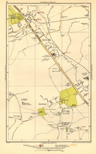 Associate Product EDGWARE.Burnt Oak,Kingsbury Green,Queensbury,Stanmore,Watling,Roe Grn 1923 map