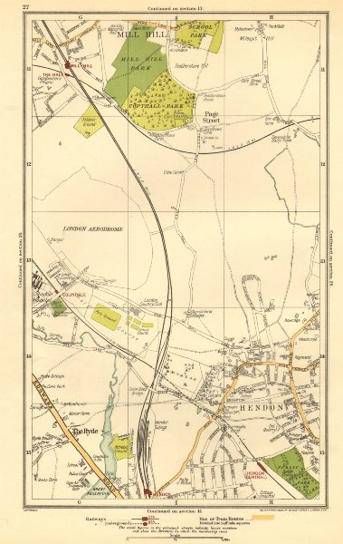 Associate Product HENDON. The Hyde, Mill Hill, Colindale, Edgware, Southfields 1923 old map