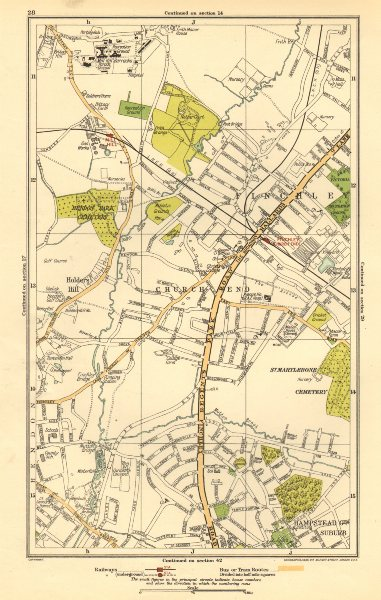 Associate Product FINCHLEY. Church End, Hampstead Garden Suburb, Mill Hill, Hendon 1923 old map