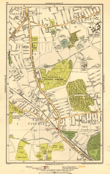 Associate Product FINCHLEY. Fortis Green, Friern Barnet, Muswell Hill, Fallow Corner 1923 map